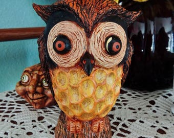 Primitive Folk Art Halloween Owl Hand sculpted OOAK