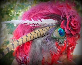 SALE 25% OFF!!! Feather Fascinator - Indian Summer