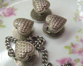 Sale...Antique Heart Shirt Studs...Hallmarked... Silver HEART Studs...Four (4) Textured Hearts...Partial Chain