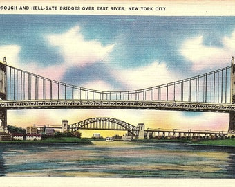 New York City, New York, Triborough Bridge, Hell-Gate Bridge, East River - Vintage Postcard - Postcard - Unused (A)