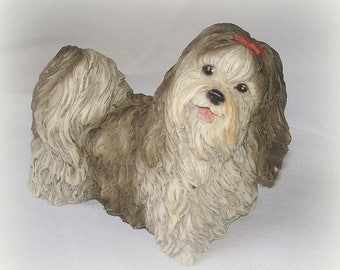 Lhasa Apso or Shih Tzu Vintage Dog Figurine by Castagna Collections Italy Well Detailed Black/Gray White Home Decor Collectible Table Decor