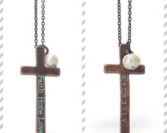 Faith hope love cross necklace