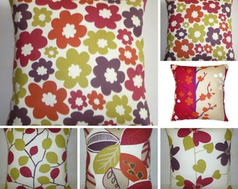 "Red Pillow Designer Cushion Cover MIX MATCH Throw Scatter Pillow Accent ONE x 16"" (40cm) 5 patterns/ 4 color choices"