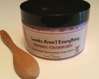 Orange cranberry body soap butter, whipped soap butter, creamy soap, scented soap. whipped soap, gift for friend, gift idea, hostess gift