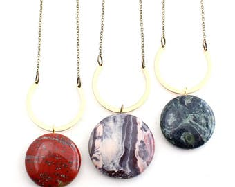 Orion -- patterned jasper and U-brass pendant, minimalist, natural, unique necklace for her