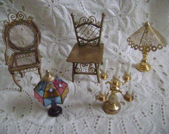 Vintage Dollhouse Furniture and Accessories Group with 2 Chairs, 2 Lamps and Candelabra, Doll House Miniatures