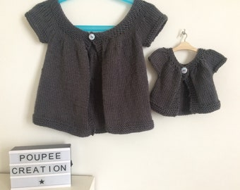 Charcoal grey kina vest size 2 years and her doll 36 cm