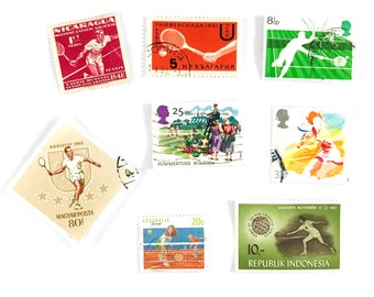 8 x Tennis postage stamps - from 6 countries, used, off paper, all different - Player Wimbledon Summer Sport - for collecting, paper craft