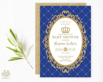 PRINCE BABY SHOWER Invitation. Royal Blue and Gold Party Invite. Prince Invitation. Glitter Gold Crown. Little Prince is on the Way. RBG1