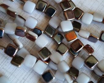 6mm CzechMates Tile Beads - White Opal Metallic - Czech Glass Beads - Two Hole Tile Beads - Bead Soup Beads