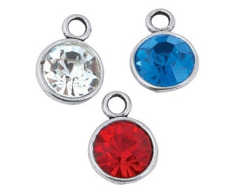 Patriotic Rhinestone Charms, 10mm x 13mm, pack of 12