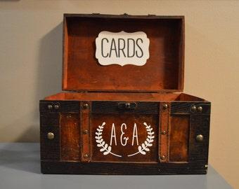 Rustic Wedding Card Box Holder   Rustic Gift Card Box with initials   Rustic Trunk Wedding Box with Custom Initials   Money Card Box G1G