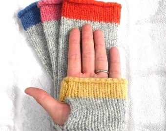 Yellow and Grey Fingerless Gloves, pure wool Made in Scotland