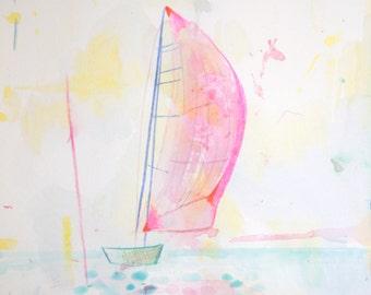 """Archival Print of Original Watercolor """"pink sailboat"""""""