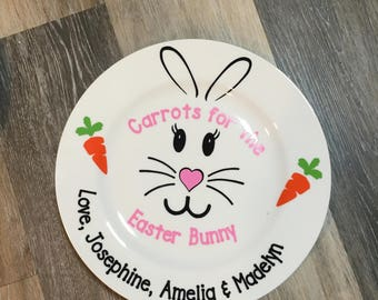 Easter bunny plate, carrots for the Easter bunny, Personalized Easter Gift, Personalized Plate for Easter Bunny,