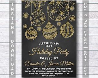 Holiday Invitation, Holiday Party Invitation, Christmas Invitation, Christmas Party Invitation, Instant Download, chalkboard
