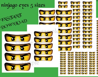INSTANT DL- Ninjago eyes,  Ninjago  for Balloon, Stickers, Lollipop, Favor bags, Cups - Ninjago birthday party (SET of 5 sizes)