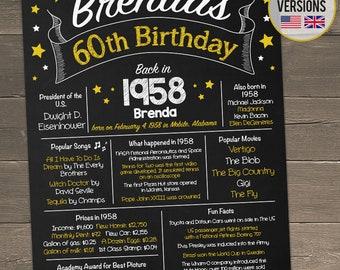 60th Birthday Chalkboard, 60th Birthday Poster, Back in 1958, 60th Birthday Gift, Born in 1958, Printable 60th Birthday Centerpiece