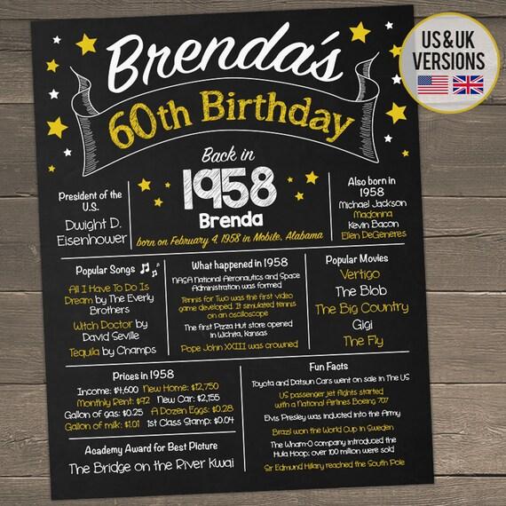 60th Birthday Chalkboard 60th Birthday Poster Back In 1958