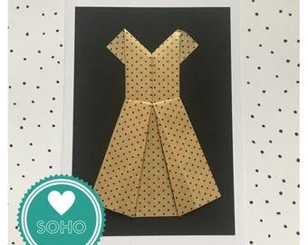 Origami Blank Greetings Card - Dress
