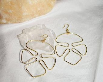 Handmade Monstera earrings, gold, minimalist, model No. 1
