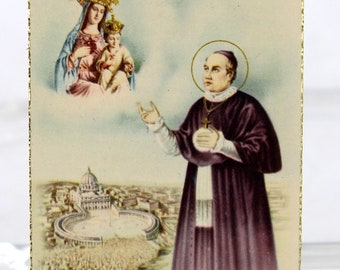 St Anthony Mary Claret Holy Card with Relic and Prayer for the Cure of Cancer