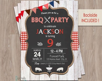 BBQ birthday invitation, bbq invitation, bbq invite, BBQ birthday party, Barbecue Invitation, BBQ Party Invitation, Red Checkered, girl, boy