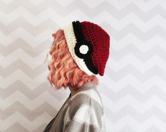 pokeball hat, pokemon hat, slouchy hat, slouchy beanie, pokemon cosplay, pokemon costume, winter hat, gift for teens, knit pokemon hat