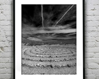 Stone Circle Mohave Dessert Black and White Wall Art Photography Poster Print
