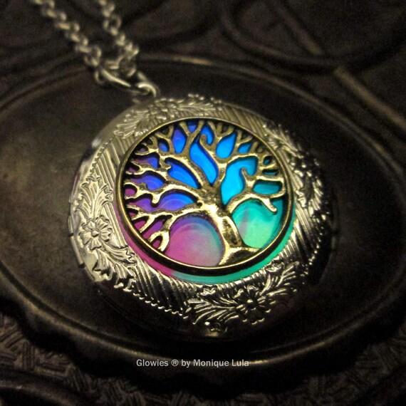 Rainbow Tree of Life Silver Plated Glow Locket