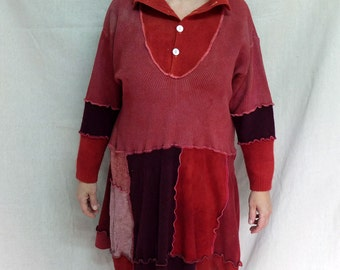 Sweater Dress in Brick and Rust Shade   - made by kathrin kneidl the upcyclist