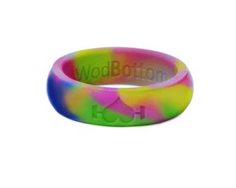 Rainbow Silicone Wedding Ring for women - Perfect for Active Ladies, Athletes, Crossfit, working out, WOD - Safe, rubber rings, Wedding Band