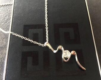 Silver Snake Necklace, Diamond Snake Pendant