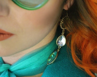 Vintage 90's blue green and white jewel gold earrings
