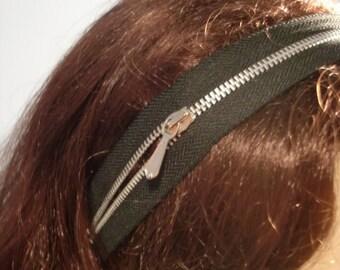 Black Zipper Headband Hair Accessory Steampunk Goth