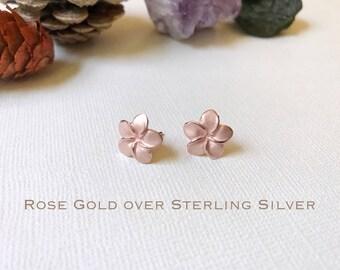Sale Rose Gold over Sterling Silver, Plumeria stud earring, Plumeria earring, Plumeria studs, Gold Plumeria, Silver Plumeria, Flower earring