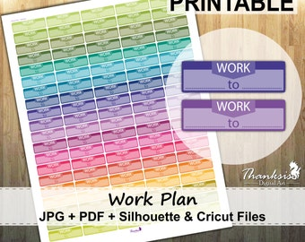 50% SALE, Work Plan Printable Planner Stickers, Erin Condren Planner Stickers, EC Printable Stickers, Work Plan Stickers - Cut Files