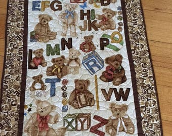 Teddy Bear ABC Quilt, Quilts for Sale, Handmade Quilts, Teddy Bear Quilts, ABC Quilts, Baby Quilts, Baby Shower Gift, Boyds Bear Quilt