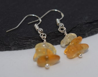 Shaded Citrine Slices Trio Drop 925 Sterling Silver November Birthstone Earrings