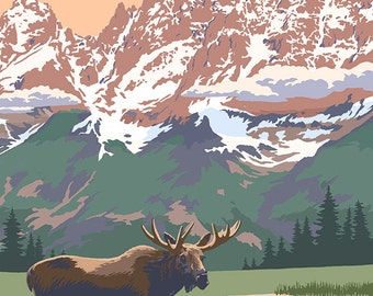 Grand Teton National Park - Moose and Mountains (Art Prints available in multiple sizes)