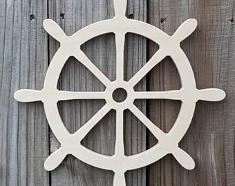 Ship Wheel Shape- Nautical Shape- Nautical Nursery- Nautical Bathroom Decor- Wood Cutouts- Wood Shape- Craft Cutouts