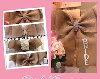 Wedding Burlap Pew or Chair Bow, Bridal Shower Decor, Wedding Decor, Rustic Wedding Decor, Bridal Shower, Rustic Burlap Pew Chair Bow
