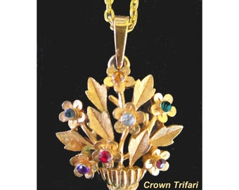 Trifari Pendant Necklace * Basket Of Flowers * Multicolor Stones
