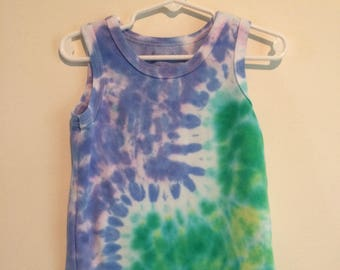 Blue and green ripple tie dyed tank, kids 2T