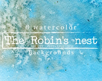 The Robin's nest Watercolor backgrounds Watercolor textures