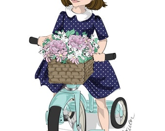 11 by 14 wall art, Children's Fashion Illustration Print, little girl riding a mint colored vintage tricycle