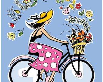 PRINT - 8x10, bicycle wall art, spring, wall decor, whimsical prints, bicycle art, whimsical art, spring art, pink art, cycling