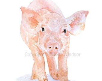 Pink Piglet Watercolor Painting - Large Print - 16 x 20 - Farm Animal Art Nursery Decor