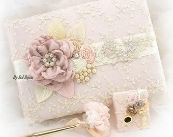 Wedding Guest Book Gold Rose Pink Ivory Lace Signature Book Vintage Guestbook Guests Sign In Book and Pen Set Elegant Book for Guests