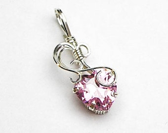 Pink Heart CZ Prong Set Swirls and Curls Silver Filled Wire Pendant